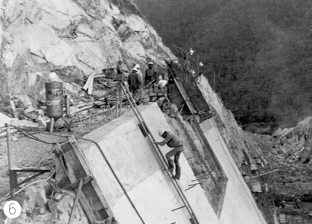 Eungella Dam Hazardous work on spill way wall circa 1966