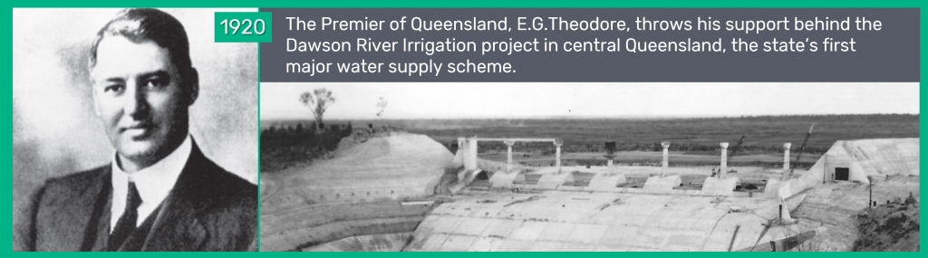1920 - The Premier of Queensland, E.G.Theodore, throws his support behind the Dawson River Irrigation project in central Queensland, the state's first major water supply scheme.