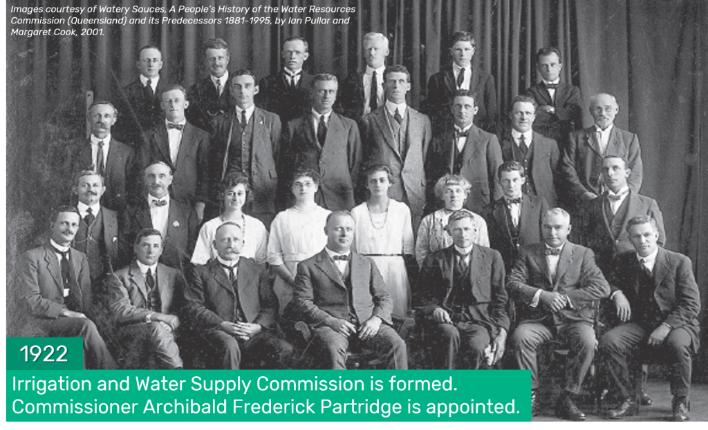 1922 - Irrigation and Water Supply Commission is formed. Commissioner Archibald Frederick Partridge is appointed.