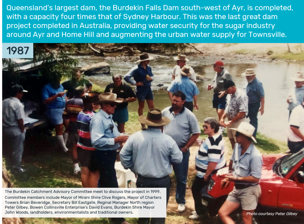 1987 - Queensland's largest dam, the Burdekin Falls Dam south-west of Ayr, is completed, with a capacity four times that of Sydney Harbour. This was the last great dam project completed in Australia, providing water security for the sugar industry around Ayr and Home Hill and augmenting the urban water supply for Townsville.