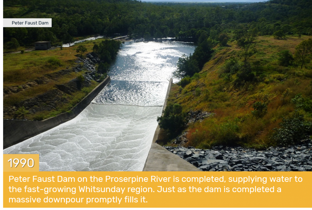 1990 - Peter Faust Dam on the Proserpine River is completed, supplying water to the fast-growing Whitsunday region. Just as the dam is completed a massive downpour promptly fills it.