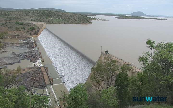 Burdekin Falls Dam spilling in February 2020