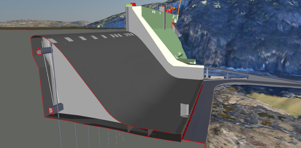 Preliminary design – Spillway anchoring (in grey) and abutment raising (in white) - for illustrative purposes only.